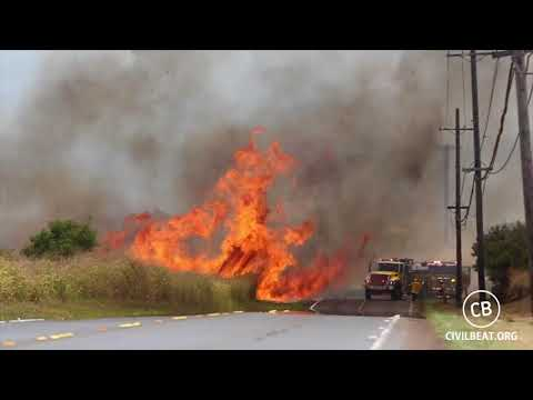 Wildfires in California -  Honolulu Firefighters Battle Large Brush Fire Off Kunia Road