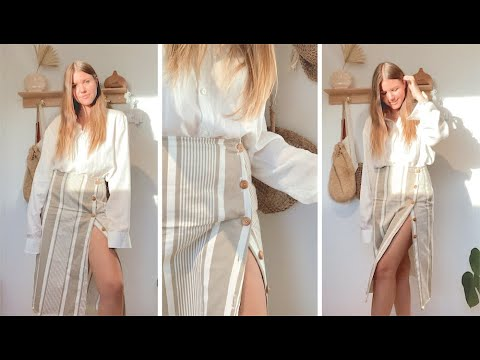 DIY // Button Up Skirt - YouTube