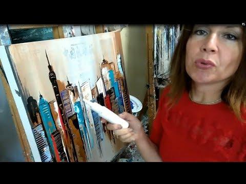 J'ai testé pour vous l'acrylique MAT PUB de PEBEO, city (peinture au couteau sur papier journal)
