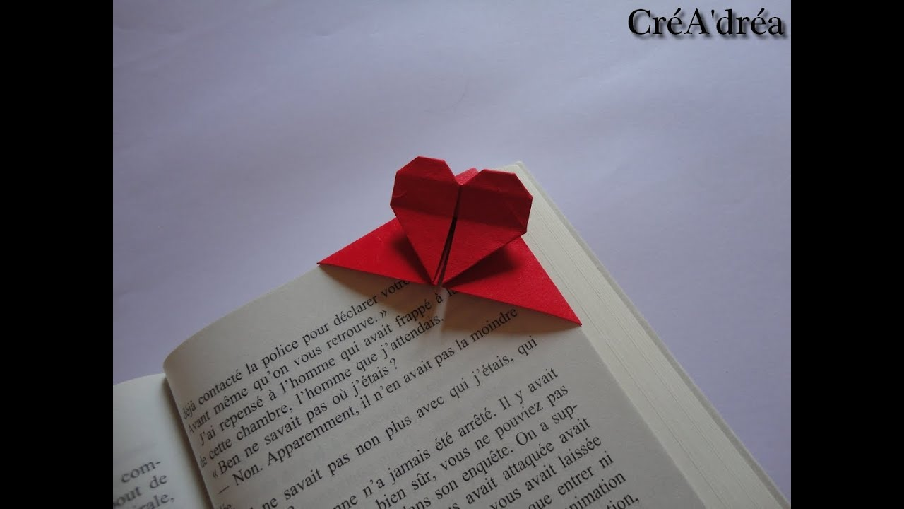 marque pages origami coeur a corner heart bookmark origami youtube. Black Bedroom Furniture Sets. Home Design Ideas