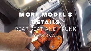 More Tesla Model 3 details (part 3), rear seat removal and looking behind the trunk lining..........