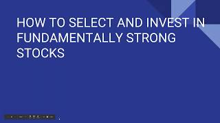 #313 StockPro |(HOW TO SELECT AND INVEST IN FUNDAMENTALLY STRONG STOCKS)