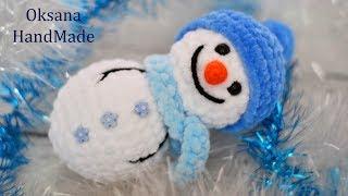 Снеговик крючком из плюшевой пряжи. Мастер класс и Схема! Snowman crochet