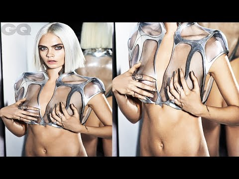 Cara Delevingne GOES Braless For Furturistic GQ Shoot