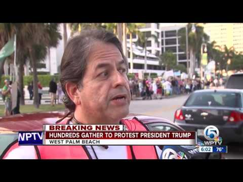 Trump protesters march through West Palm Beach