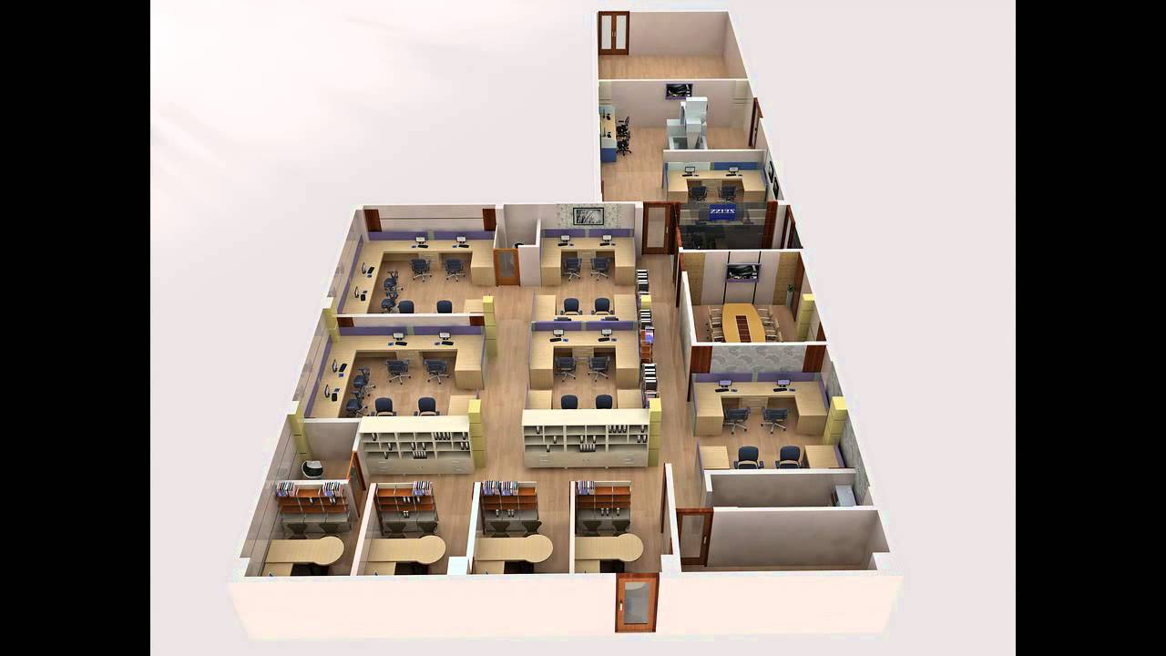 Floor plan 3d office - video vtarc - YouTube