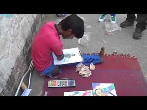 people love to support roadside artist on Kathmandu