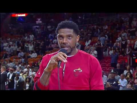 Miami Heat captain Udonis Haslem addresses fans before team