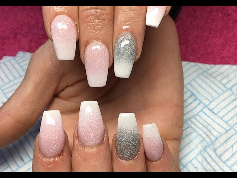 Acrylic Nails Pink And White Ombre Cjp Youtube