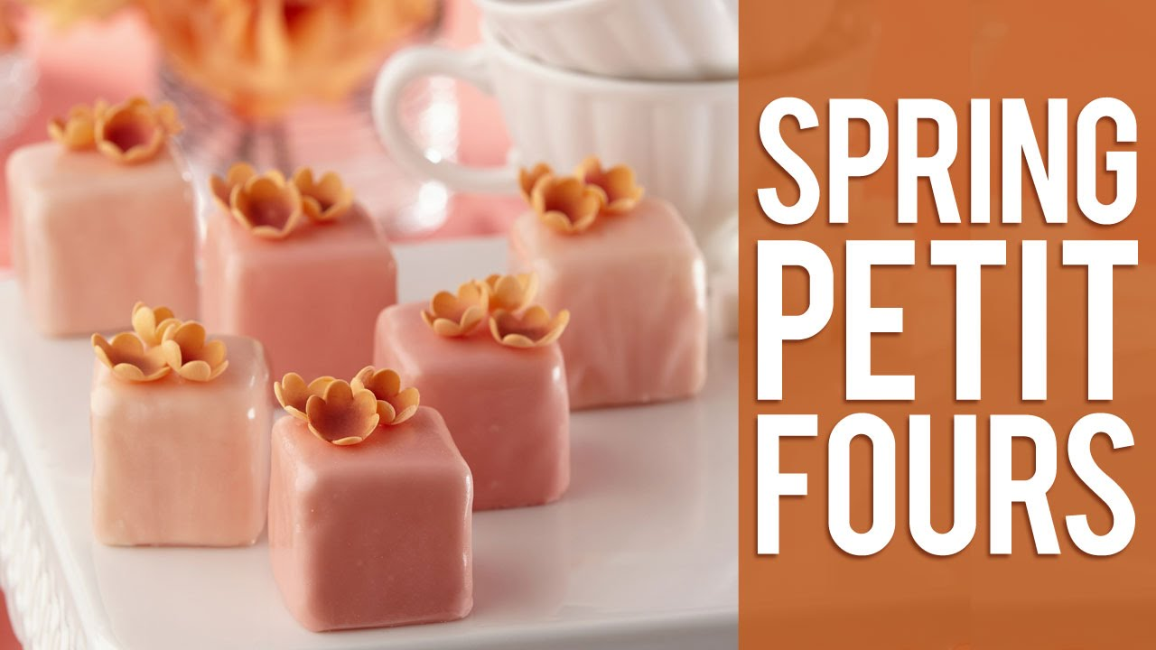 learn how to decorate spring petit fours using the flower and leaf
