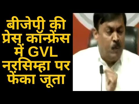 WATCH VIDEO: Shoe Thrown At BJP MP GVL Narasimha Rao During Press Conference In Delhi