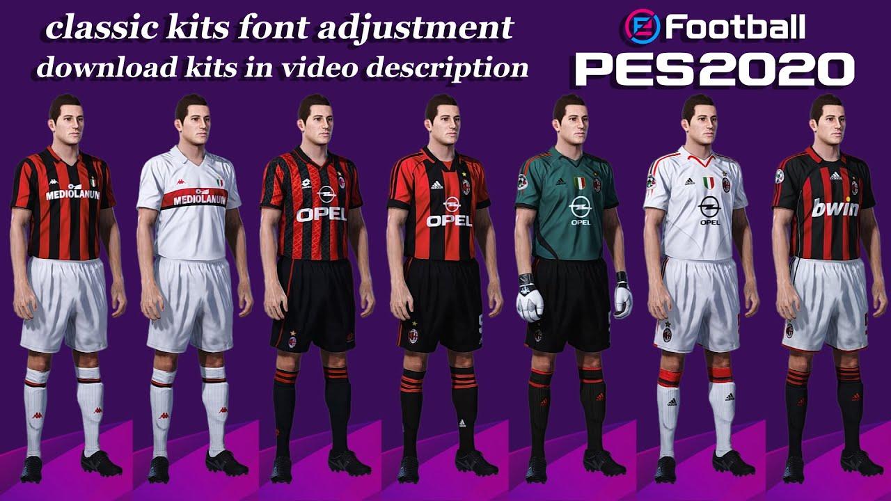 A C Milan Classic Kits Pes 2020 Font Adjustment Guide Ps4 Pes 20 Ac Milan Youtube