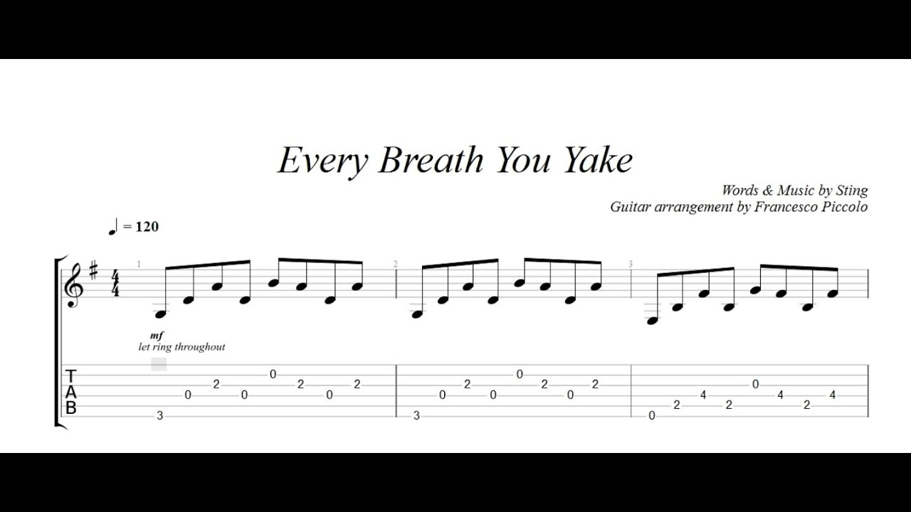 Fingerstyle Guitar The Police Every Breath You Take From Hits Colle Fingerstyle Guitar Guitar Breathe