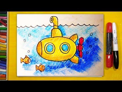Как нарисовать подводную лодку