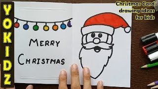 How to draw SANTA CLAUS Greeting card | Christmas Card drawing ideas for kids