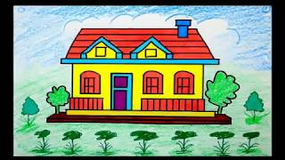 How to Draw House for Kids Coloring Pages and Learn Colors for Children's