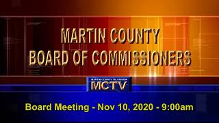 Martin County Board of County Commissioners Meeting, Tuesday, November 10