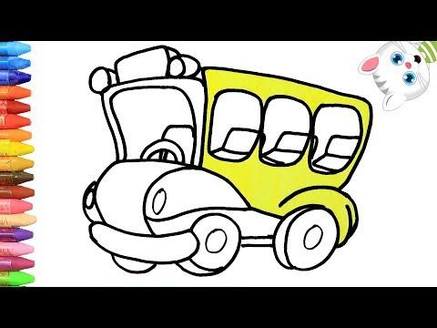 làm thế nào để vẽ xe buýt sơn trò chơi | Iàm Thế Nào để vẽ Màu Cho Trẻ Em