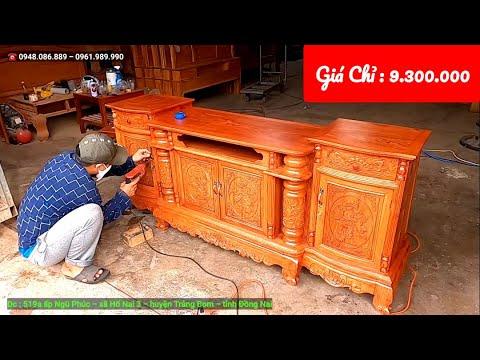 Kệ Ti Vi Trang Trí Phòng Khách - mẫu cột nho gỗ Hương Đá 100% giá RẺ ?