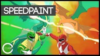 Drawing Red Ranger & Charizard vs Green Ranger & Rayquaza Playmat Design