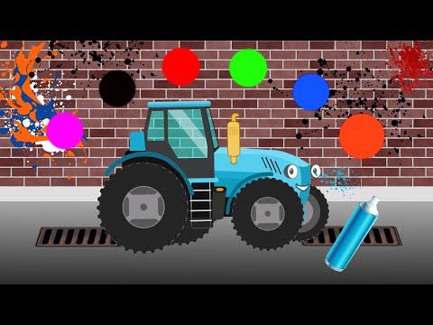 Машинки — учим цвета.Развивающий мультик — раскраска про поезд, самолет, синий трактор и их друзей.