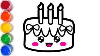 Bolalar uchun tug ilgan kun uchun yoqimli tort torting Нарисуйте милый торт на день рождения для дет