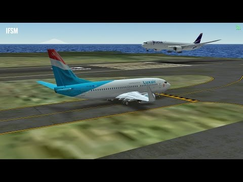 Infinite Flight Boeing B737 Luxair livery takeoff at St. Maarten airport