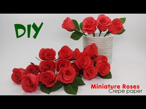 How To Make Rose Paper Flower From Crepe Paper | Paper Craft Tutorial