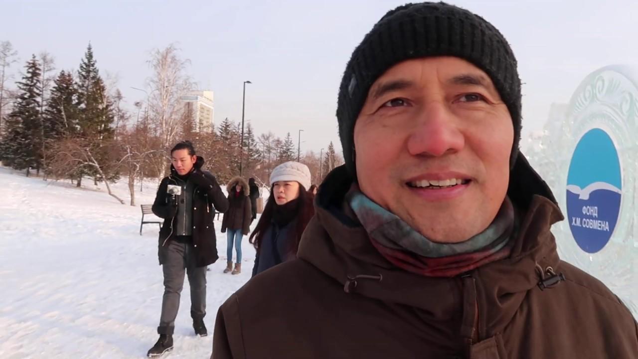 #ໄບ່ໃສ່ກ້ອງ ກຳແພງນ້ຳກ້ອນກາງເມືອງງານສິນ EP.45  1/2020 ທ່ຽວຣັດເຊຍ, Russia - Siberia -Krasnoyarsk trip 
