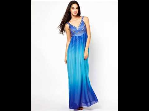 Длинное кружевное синее платье - YouTube