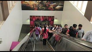 Five-Story Building Long Escalator in India - Delhi Metro - Magenta Line