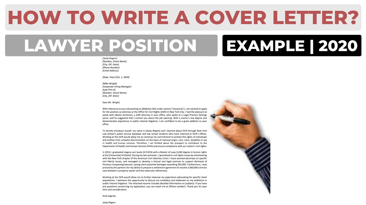 How To Write A Cover Letter For A Lawyer Or Attorney Position Example Youtube