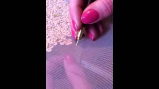 Golden knickers sequin application using a tambour hook | Janet Timms