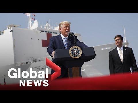 Coronavirus outbreak: Trump sees of USNS Comfort as it sets sail for New York | FULL