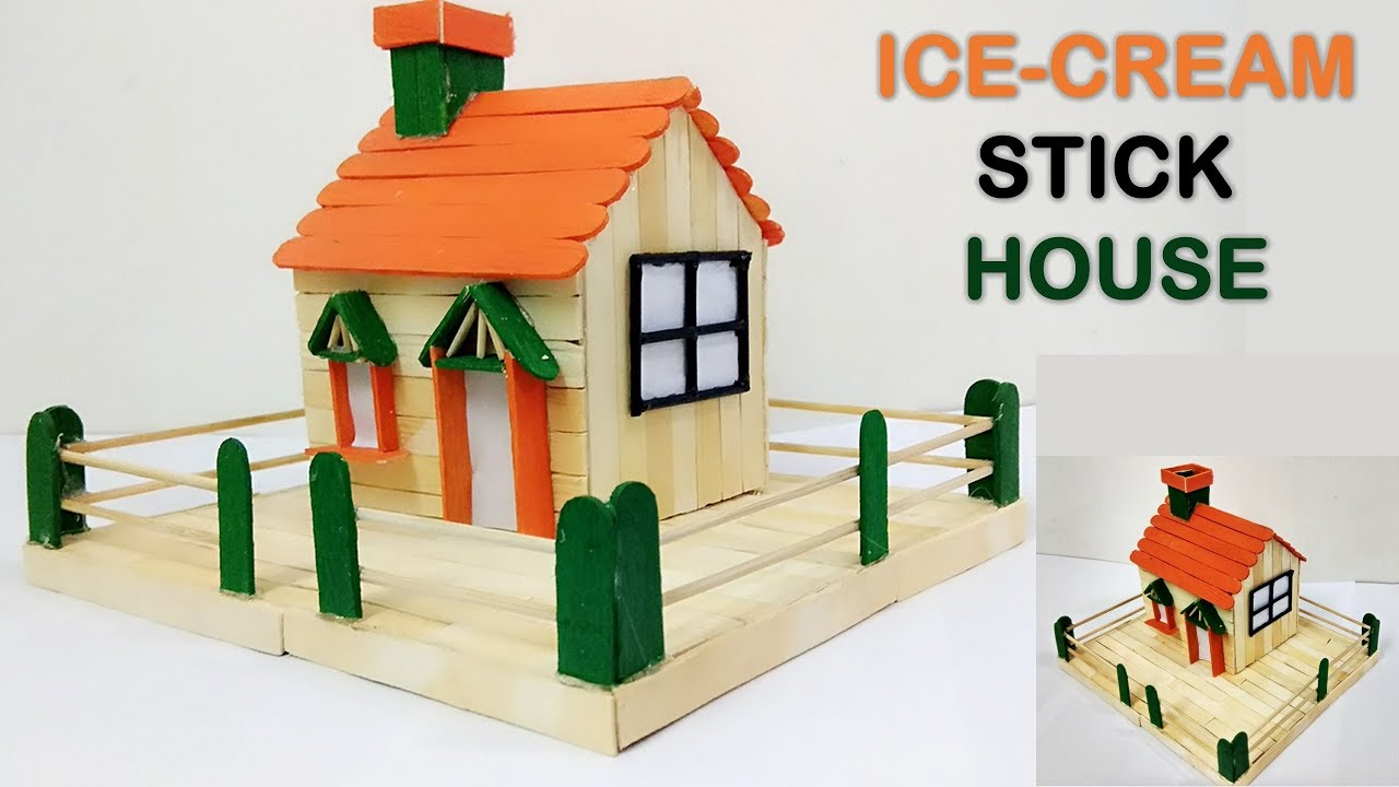 How To Make Ice Cream Stick House Diy 5 Minutes Craft Youtube