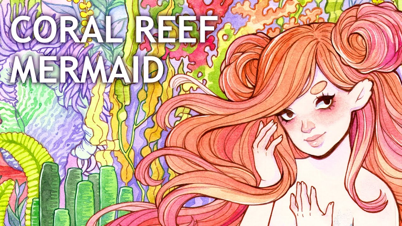 Coral Reef Paint Color Coral Reef Mermaid Watercolor Painting Color Talk Youtube