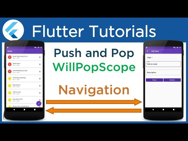 #4.3 Flutter Navigate to a new screen and back. Use WillPopScope and Perform Push and Pop operations