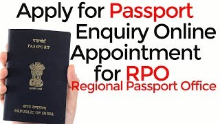 How to take online appointment for RPO Regional Passport Office for enquiry