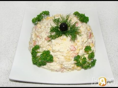 салат с ананасом и кукурузой пошаговый