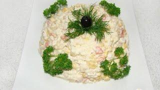 Салат из крабовых палочек с ананасом и яйцом  Пошаговый рецепт