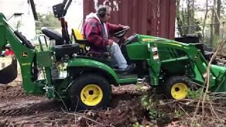 John Deere 1025R - Outdoor Man Cave Cleanup Part 1