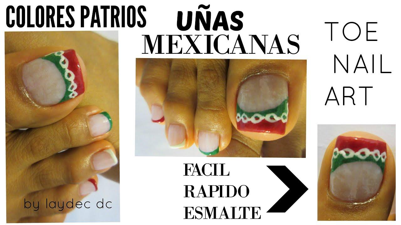 Uñas Mexicanas colores patrios decoración para los pies /Mexican ...