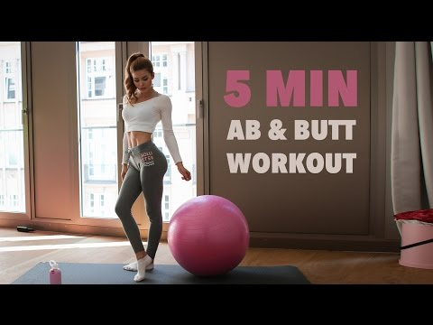 5MIN BOOTY & AB WORKOUT // Yoga Ball | Pamela RF