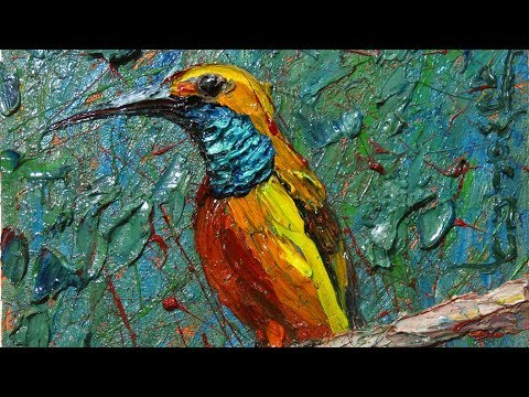 Original oil painting art signed animal abstract aviation bird African wildlife - x1185