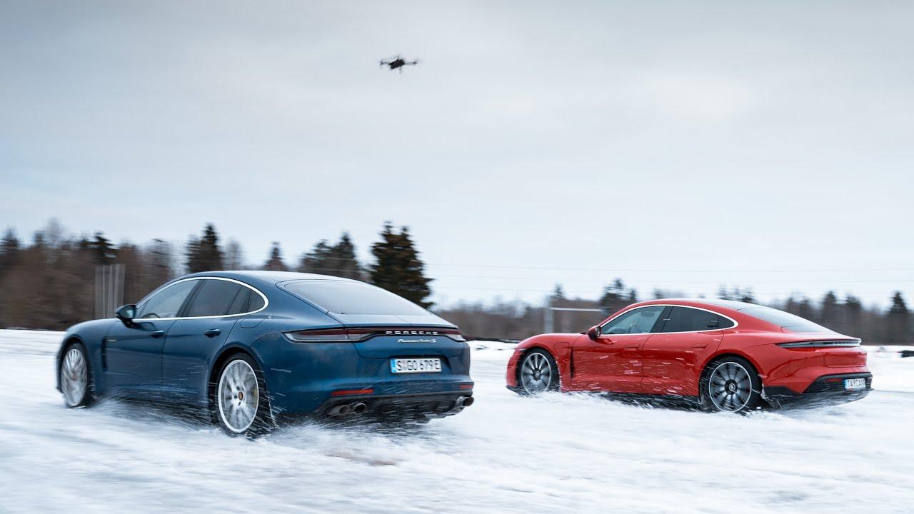 Porsche Taycan vs Panamera on ice - who will win?