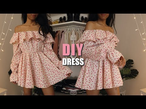 diy-off-the-shoulder-dress-/-how-to-make-a-dress-with-sewing-pattern