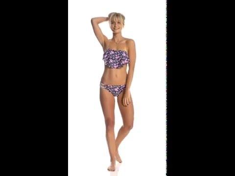 Hot Water Swimwear Best Buds Flounce Bandeau Bikini Top | SwimOutlet.com