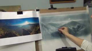 """Как рисовать пейзаж """"сухой кистью"""" - ч.2 . Рисуем гор. Уроки Татьяны Артыковой"""
