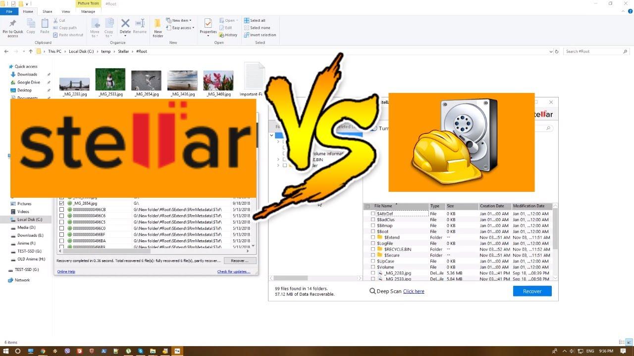 File Recovery - Stellar Data Recovery VS  Recuva