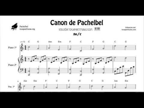 Canon de Pachelbel en Do Partitura de 2 Pianos Melodía y Acompañamiento Sheet Music for Two Pianos
